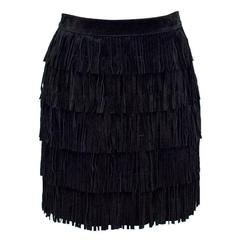 Kate Spade Black Fringed Mini Skirt
