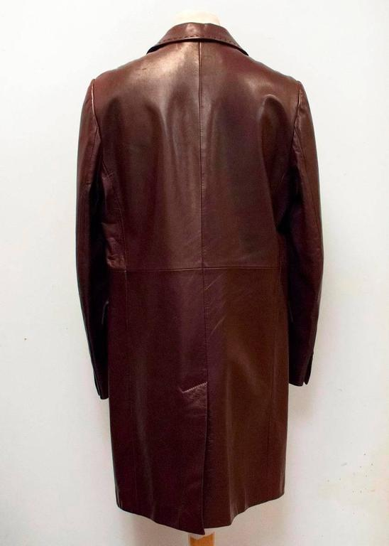 Dolce And Gabbana Mens Burgundy Leather Long Coat For Sale