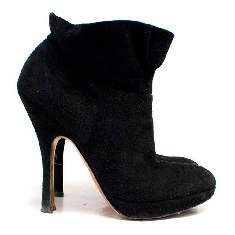 prada black suede boots for sale at 1stdibs