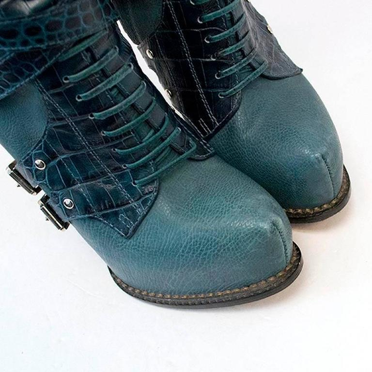 Dior Teal Guetre Over The Knee Boots At 1stdibs