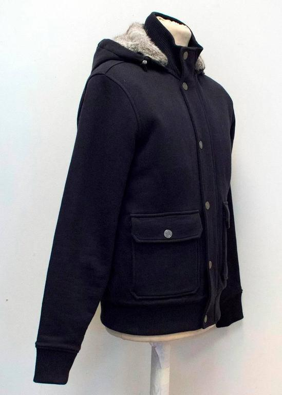 Black Michael Kors Navy Hooded Sweater with Grey Rabbit Fur Lining For Sale