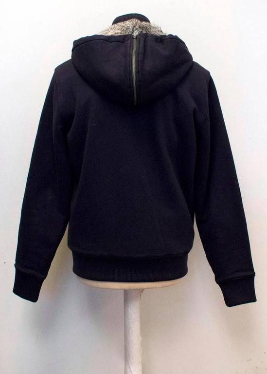 Michael Kors Navy Hooded Sweater with Grey Rabbit Fur Lining For Sale 2