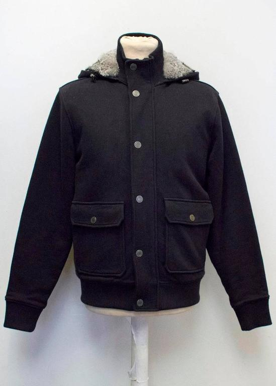 Men's Michael Kors Navy Hooded Sweater with Grey Rabbit Fur Lining For Sale