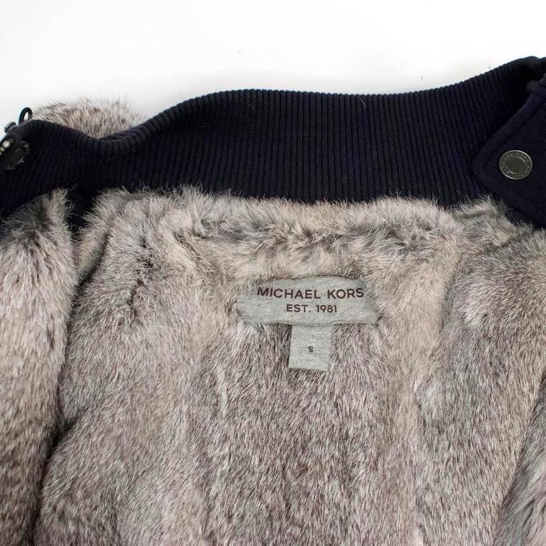 Michael Kors Navy Hooded Sweater with Grey Rabbit Fur Lining For Sale 4