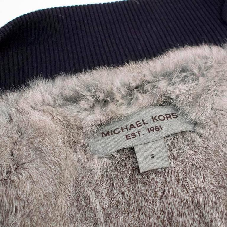 Michael Kors Navy Hooded Sweater with Grey Rabbit Fur Lining For Sale 5