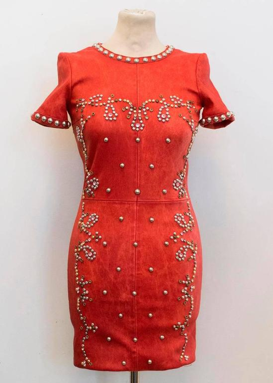 Women's Isabel Marant Red Leather Bora Studded Dress For Sale