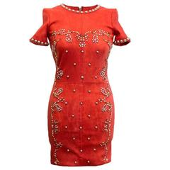 Isabel Marant Red Leather Bora Studded Dress