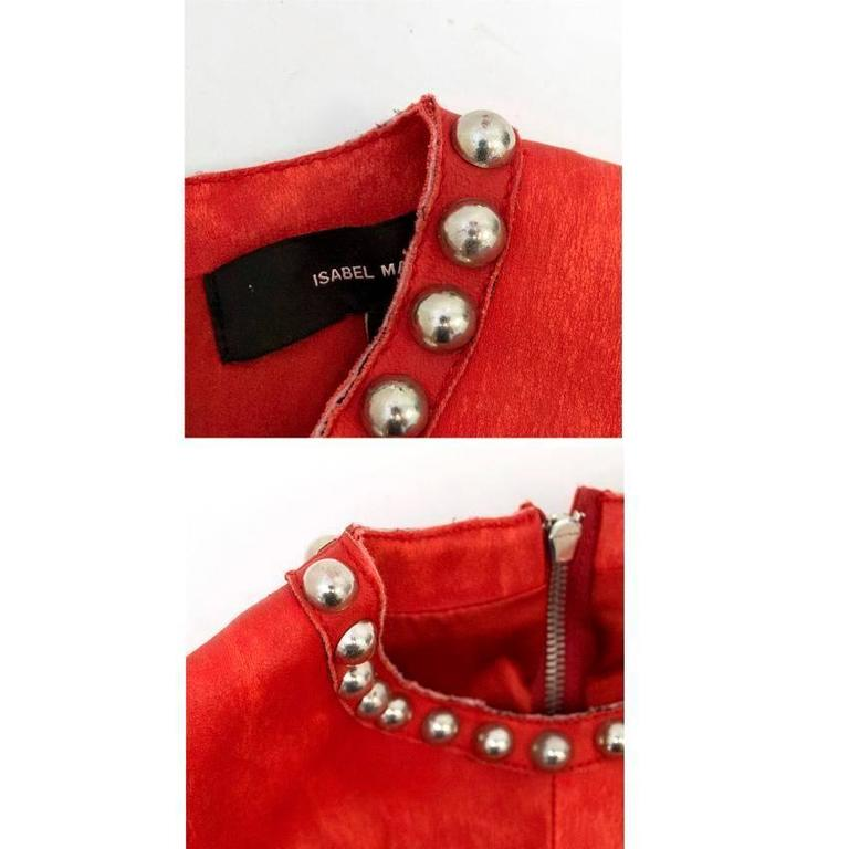 Isabel Marant Red Leather Bora Studded Dress For Sale 4