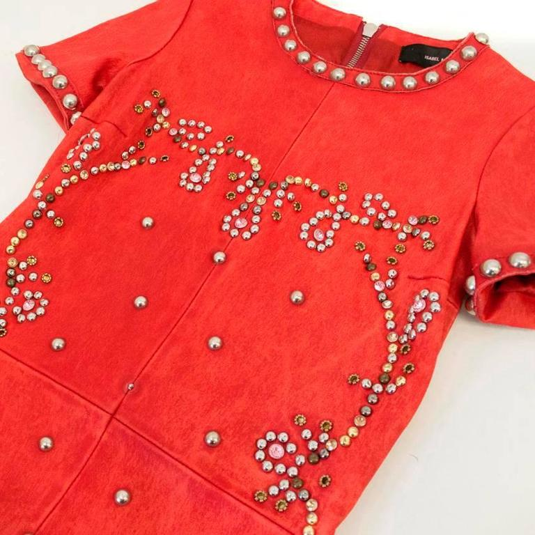 Isabel Marant Red Leather Bora Studded Dress For Sale 2