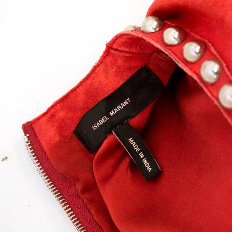 Isabel Marant Red Leather Bora Studded Dress For Sale 5