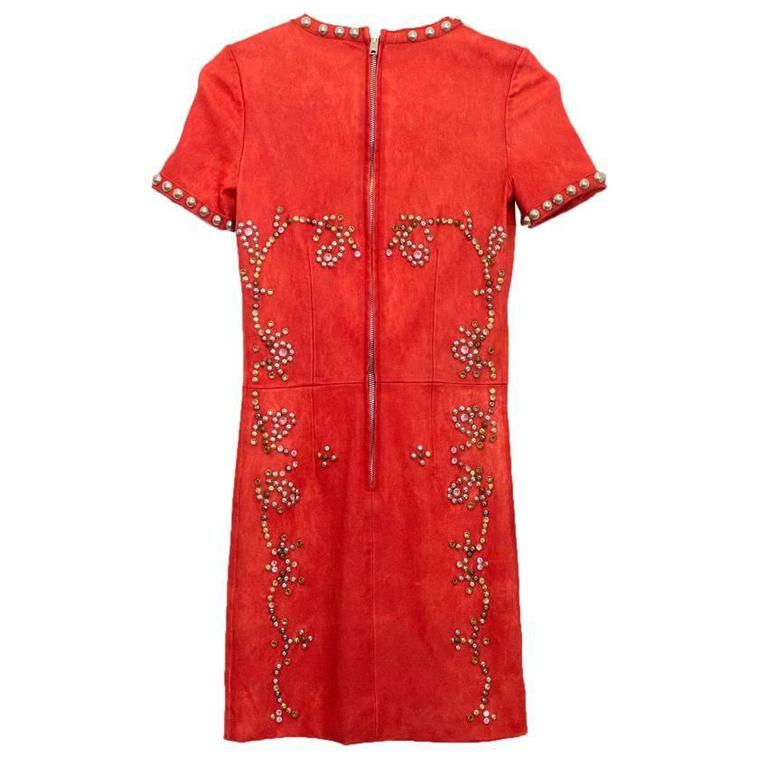 Isabel Marant Red Leather Bora Studded Dress In Excellent Condition For Sale In London, GB