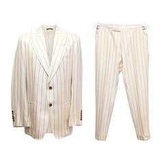 Tom Ford Cream Silk Pinstripe Two Piece Suit