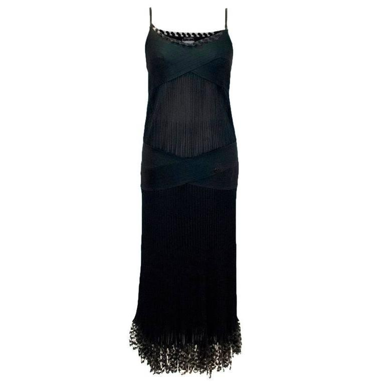 Chanel Black Pleated Strappy Ankle Length Dress 1