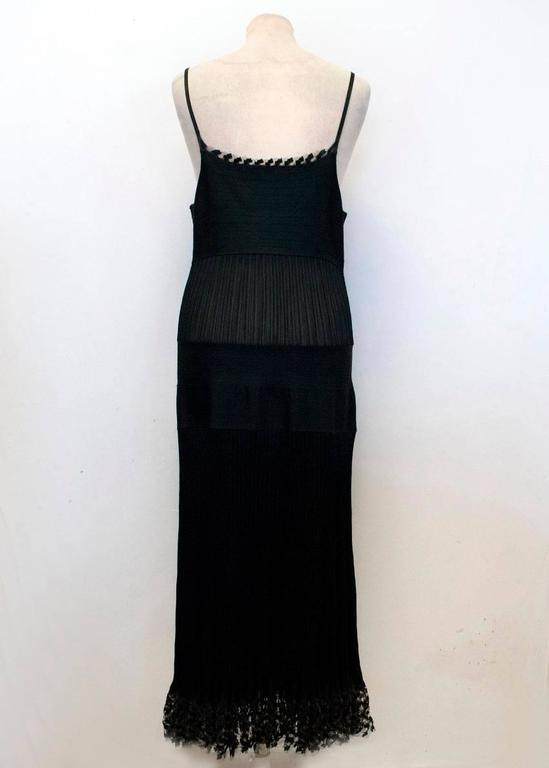 Chanel Black Pleated Strappy Ankle Length Dress 4
