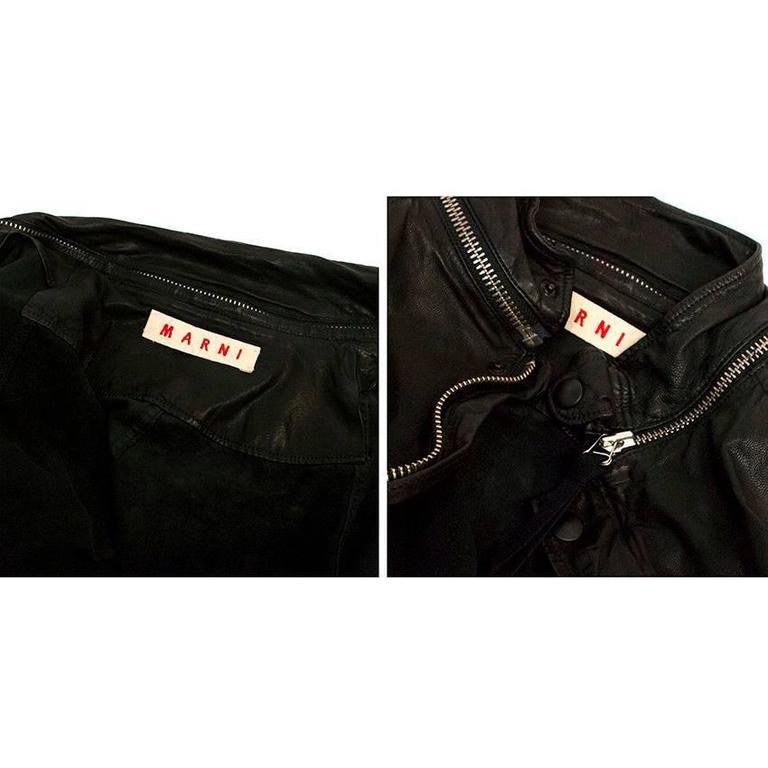 Marni Black Goat Leather Jacket For Sale 1