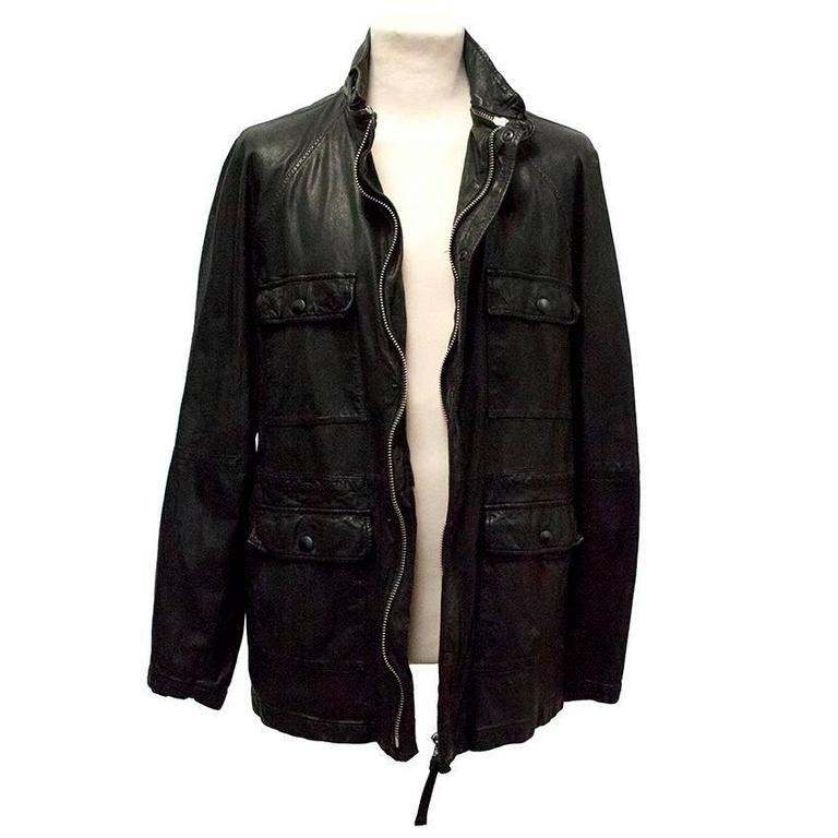 Marni Black Goat Leather Jacket For Sale 2
