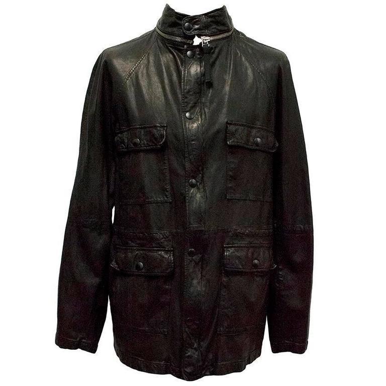 Marni Black Goat Leather Jacket For Sale