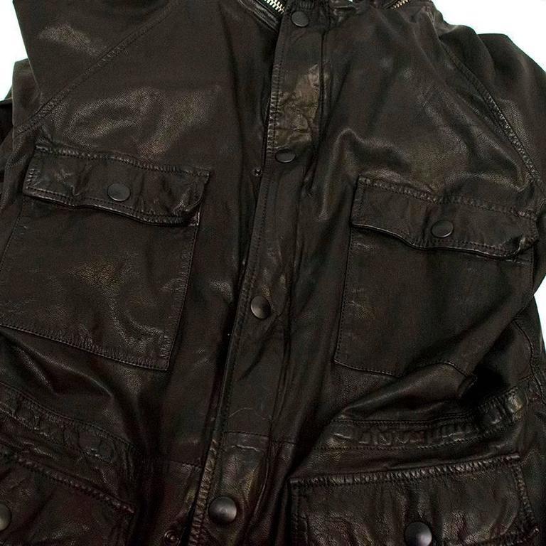 Marni Black Goat Leather Jacket For Sale 4