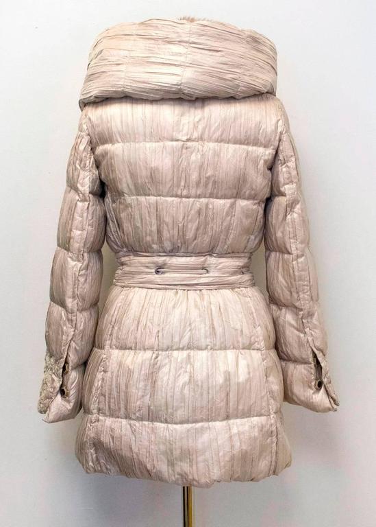 Ermanno Scervino Beige Puffer Coat with Mink Fur Lined ...