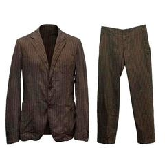 Alexander McQueen Brown Striped Suit