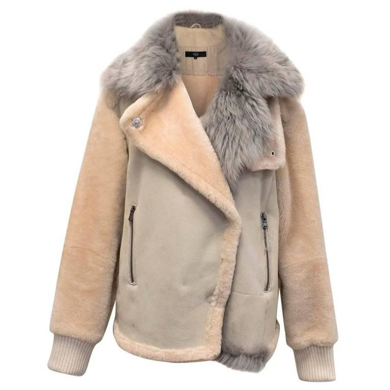 Tibi Shearling Jacket With Blue Grey Sheep Fur Collar at 1stdibs