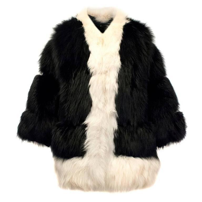 Cecile Black And White Fox Fur Coat 1