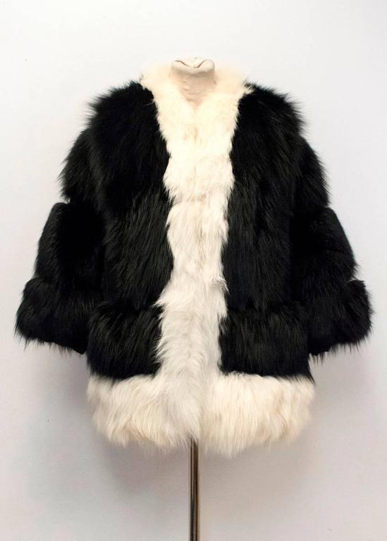 Cecile Black And White Fox Fur Coat 8
