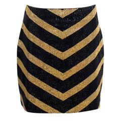 Balmain Black and Gold Crystal Embellished Mini Skirt