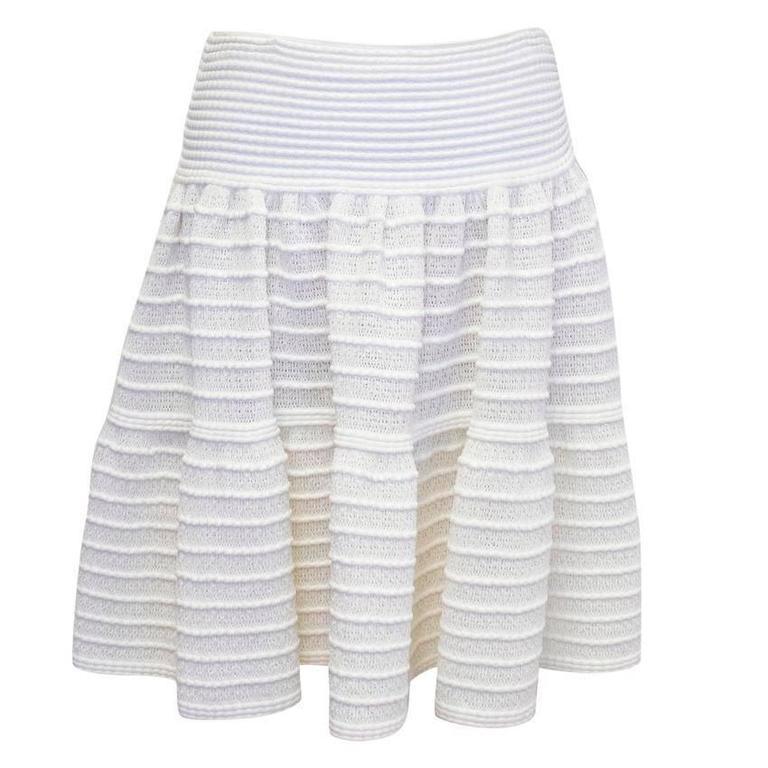 Alaia Cream Skater Skirt  For Sale
