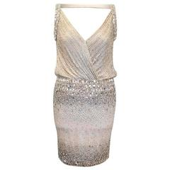 Ralph & Russo Silver Crystal Encrusted Mini Dress
