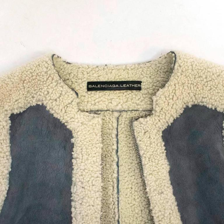 Balenciaga Leather Grey Suede and Shearling Lined Jacket 3
