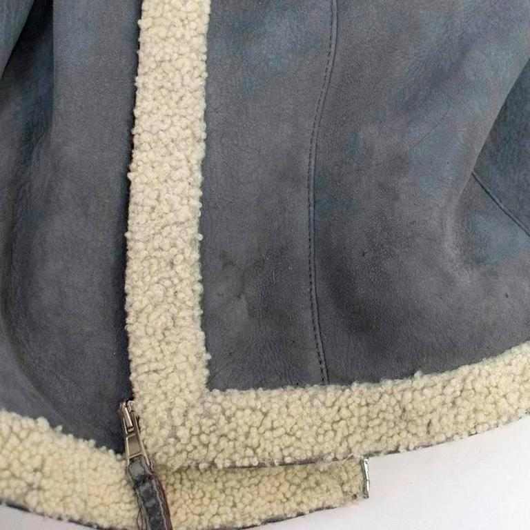 Balenciaga Leather Grey Suede and Shearling Lined Jacket 9
