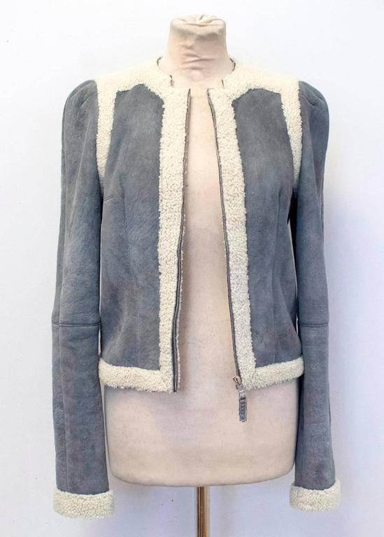Balenciaga Leather Grey Suede and Shearling Lined Jacket 6