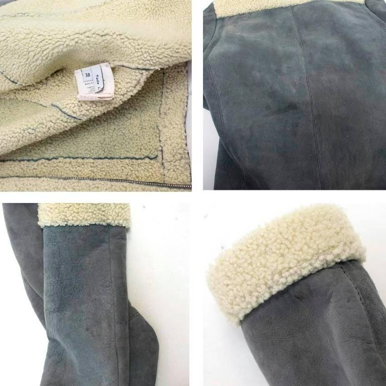 Balenciaga Leather Grey Suede and Shearling Lined Jacket 8