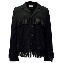 Saint Laurent Black Suede Fringed Jacket