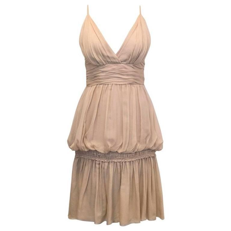 Chanel Nude Silk Ruffle Dress 1
