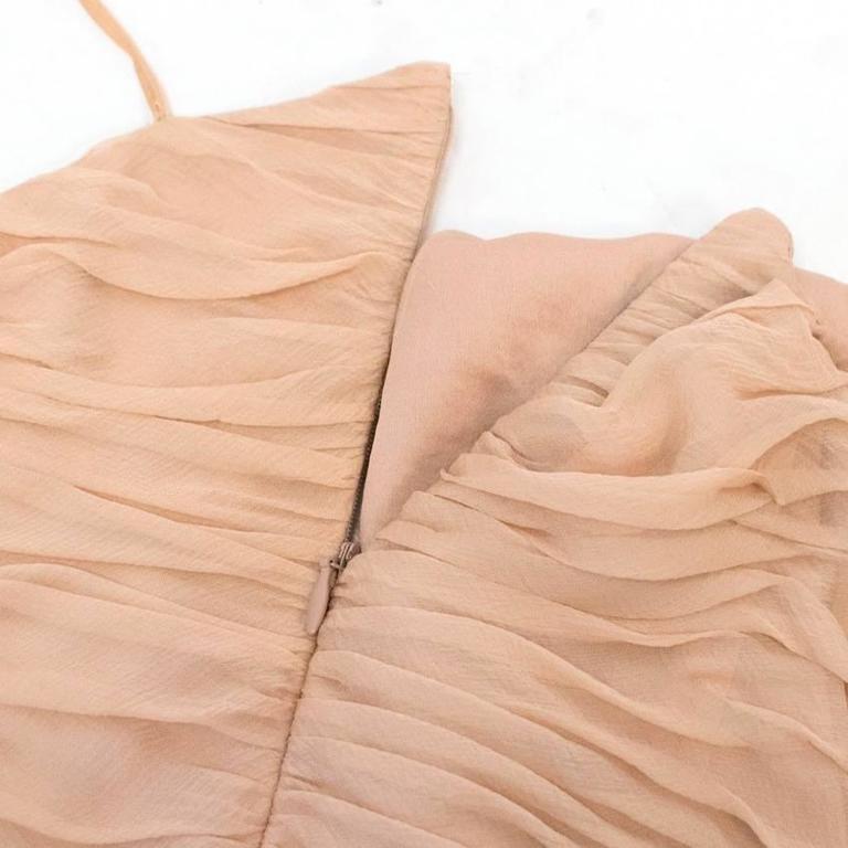 Chanel Nude Silk Ruffle Dress 10
