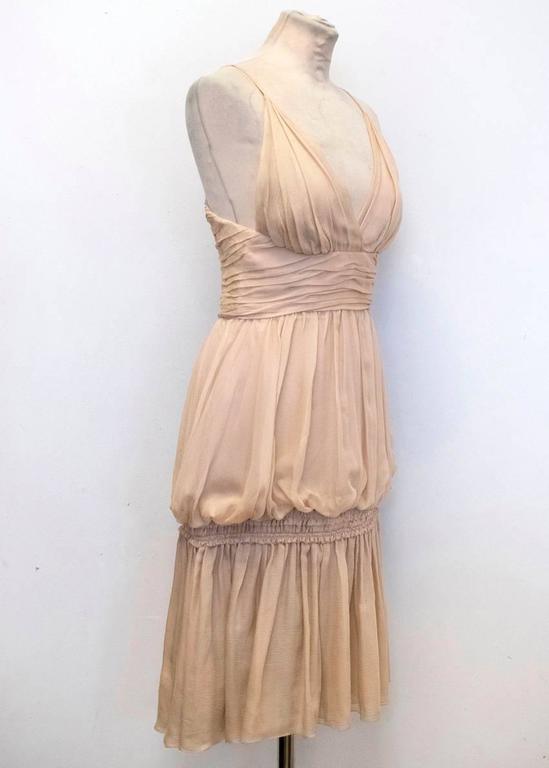 Chanel Nude Silk Ruffle Dress 6
