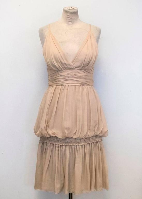 Chanel Nude Silk Ruffle Dress 7