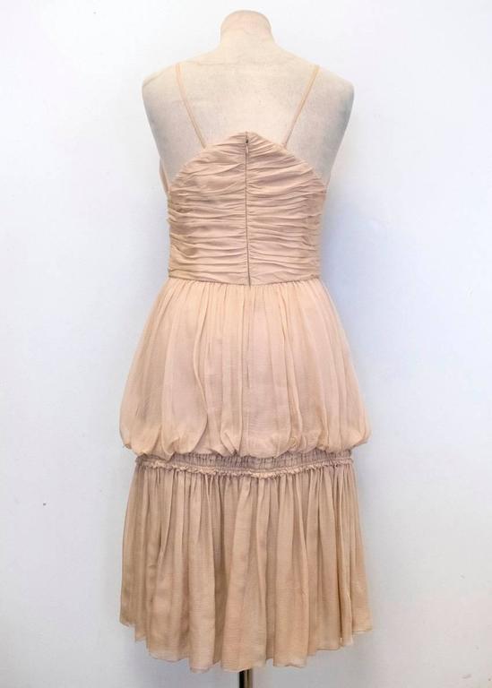 Chanel Nude Silk Ruffle Dress 8