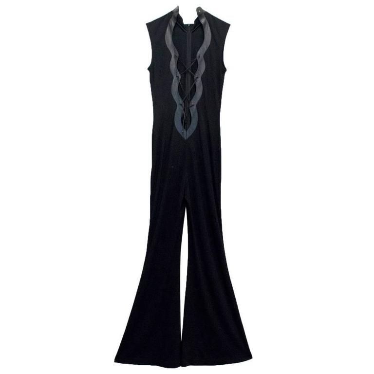 Escada Black Jumpsuit With Lace Up Front 1