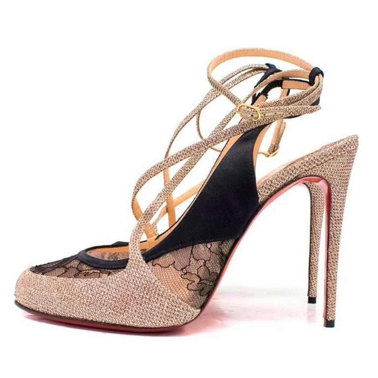 cheaper ed370 46929 Christian Louboutin Gold and Black Lace Sling Back Pumps