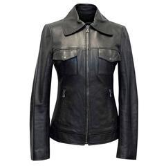 Dolce & Gabbana Black Zip Leather Jacket