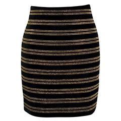 Balmain Black Velvet Studded Mini Skirt