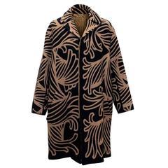 Louis Vuitton Black and Tan Printed Coat