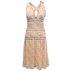 Chanel Peach Patterned and Embellished Flowy Dress