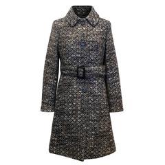 Max Mara Studio Tweed Single Breasted Wool Coat with Belt