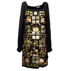 Emilio Pucci Black Silk Mini with Gold Embellishments