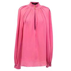 Gucci Pink Funnel Neck Blouse
