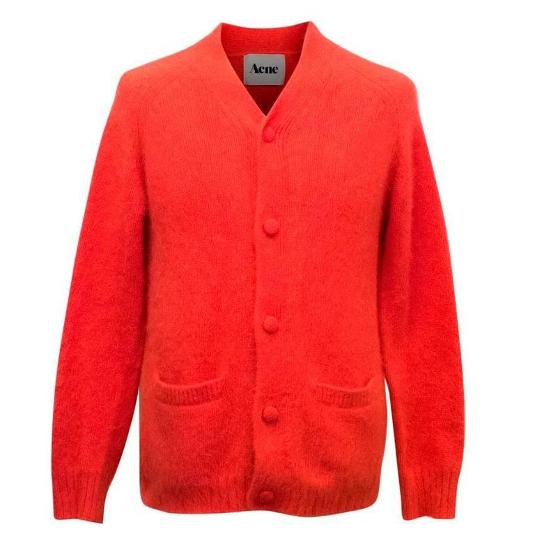 Acne Men S Coral Mohair Cardigan For Sale At 1stdibs